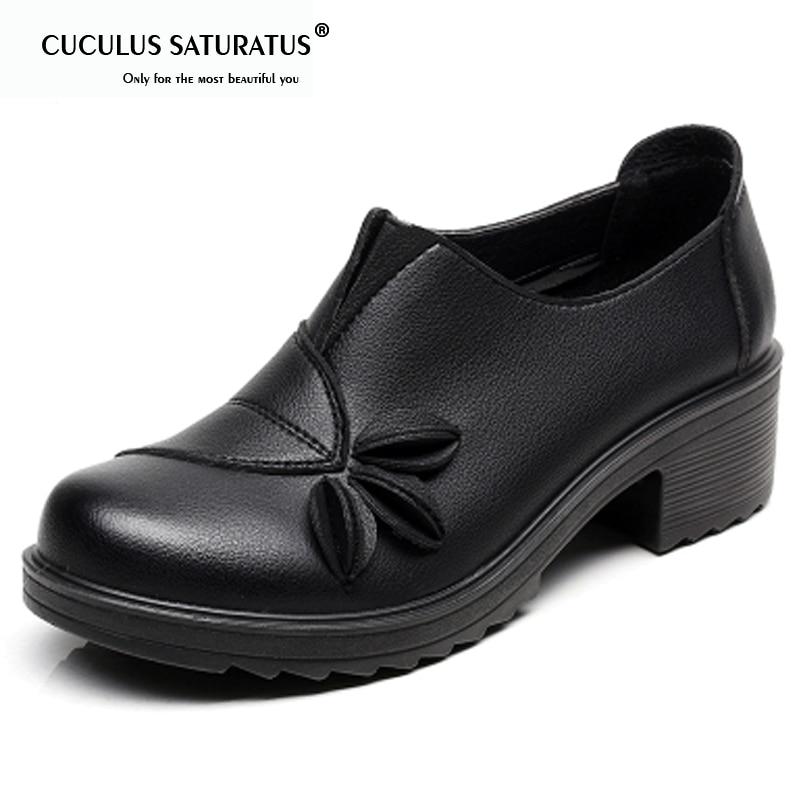 La Chaussures Cuculus black Cuir Coins jaune Taille Noir Talons Automne Plus Fur Occasionnels Épais Fur Hauts Pompes yellow Fur red marron Femmes En Femme brown rouge With Fur 1745 r8OrqxU