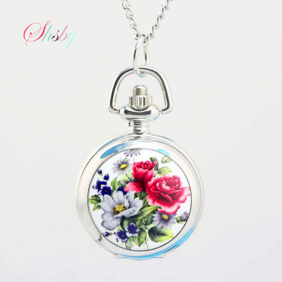 shsby pocket watches flower fashion silver Chain girl necklace quartz watch women dress watches Children's cartoon watches