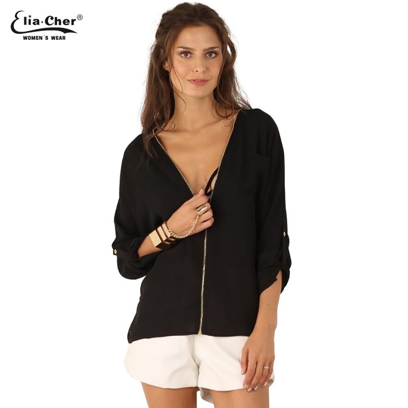 0e30677eeec08 Eliacher Chiffon Office Tops Full Sleeve Women Blouses V-neck Tops Brand  Plus Size Ladies Casual Shirts Blusas 6759