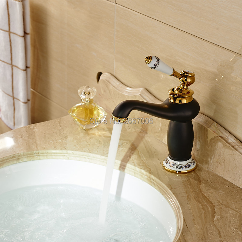 Free shipping Gold & Black Pating Ceramic Handle Brass Faucet Bathroom Basin Sink Mixer Bath& kitchen taps Faucet ZR347