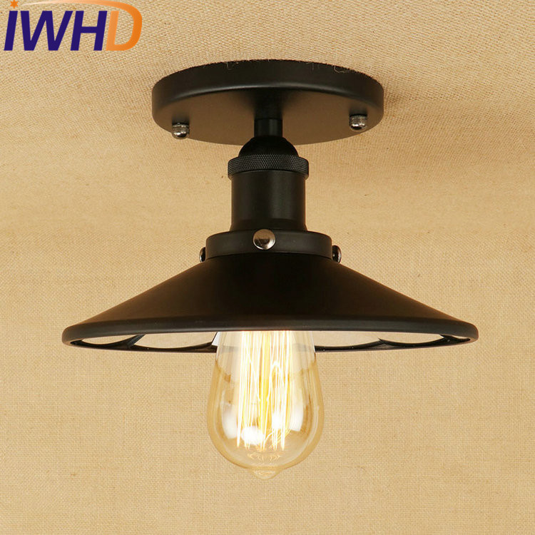 IWHD Loft Style Mirror Glass Iron Vintage Ceiling Light Fixtures Edison Industrial Ceiling Lamp Antique lights Home Lighting retro retro loft style edison industrial ceiling lamp antique iron glass vintage ceiling light fixtures home lighting lampara