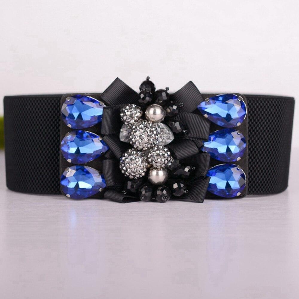 Vintage Cummerbunds For Women Wide Elastic Waist Belt Big Beads Flower Stretch Waistband Cinch Strap Belts Elastische Heupriem