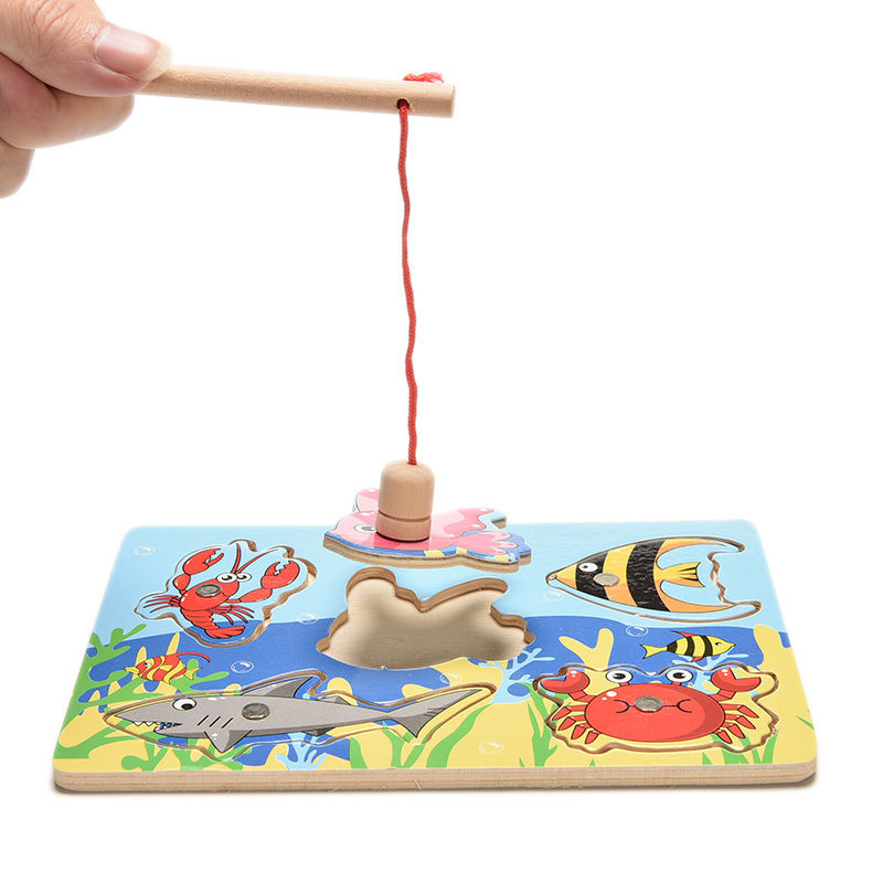 2016 New Wooden Magnetic Fishing Game & Jigsaw Puzzle Board Children Toy free shipping