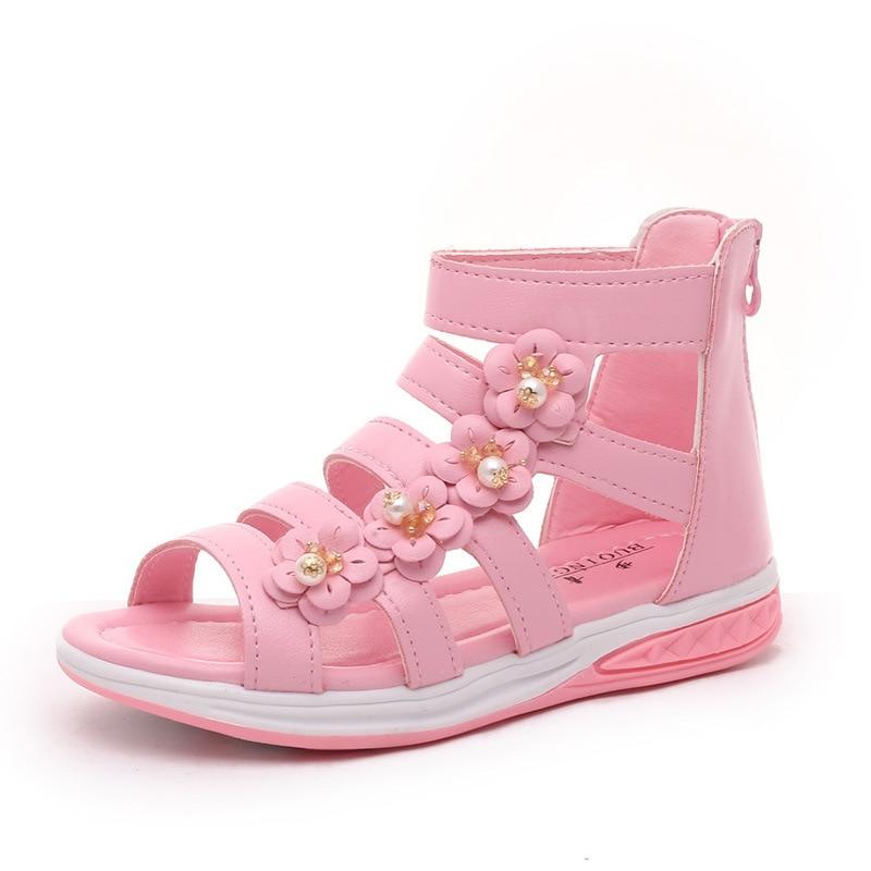 b7951bb228 Girls Gladiator Sandals Children Summer Beach Shoes Kids Wear Resistant  Anti Skid Zipper Flowers Fashion Princess Beach Sandals-in Sandals from  Mother ...
