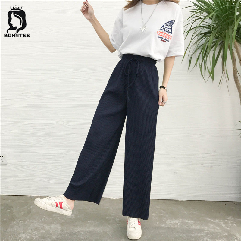 Females   Wide     Leg     Pants   Womens Drawstring Trousers Women Loose   Pant   Female Trendy Sweet Fashion Korean Style High Waist Chic New