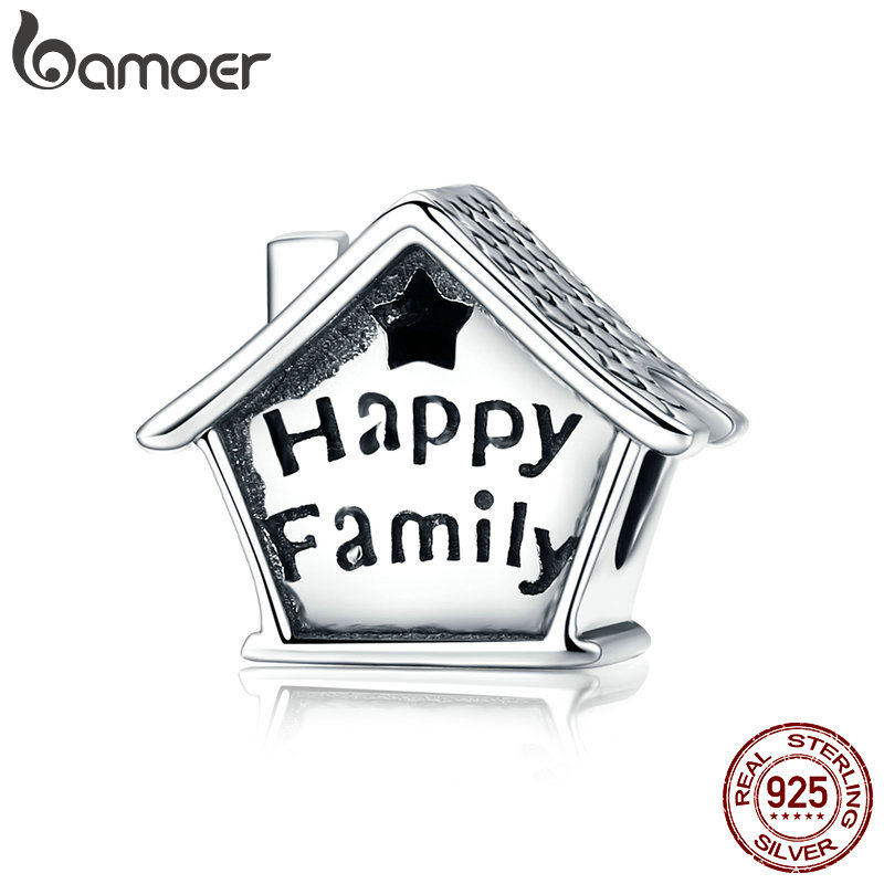 BAMOER 100% 925 Sterling Silver Happy Family House Clock Shape Charm Beads fit Charm Bracelets Necklaces DIY Jewelry SCC758 брелок silver angel 150pcs diy 15x22mm a956 fit slide bracelets necklaces jewelry findings
