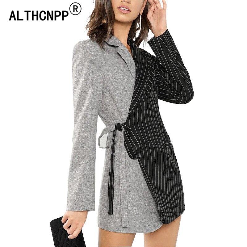 Women Blazer Dress Jackets Strap-Suit Feminino Striped New Mujer Stitching Contrast-Color