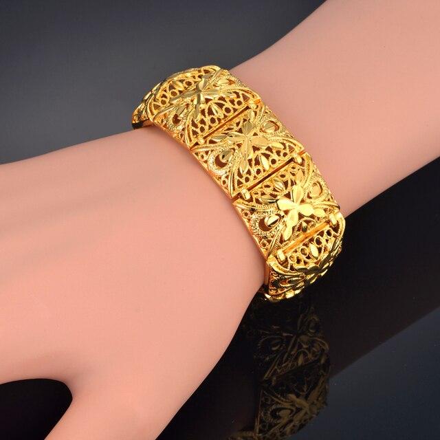 Wide Bracelet 22mm Gold Color Chain Link Chunky Bracelets Bangles For Women Vintage Jewelry Flower