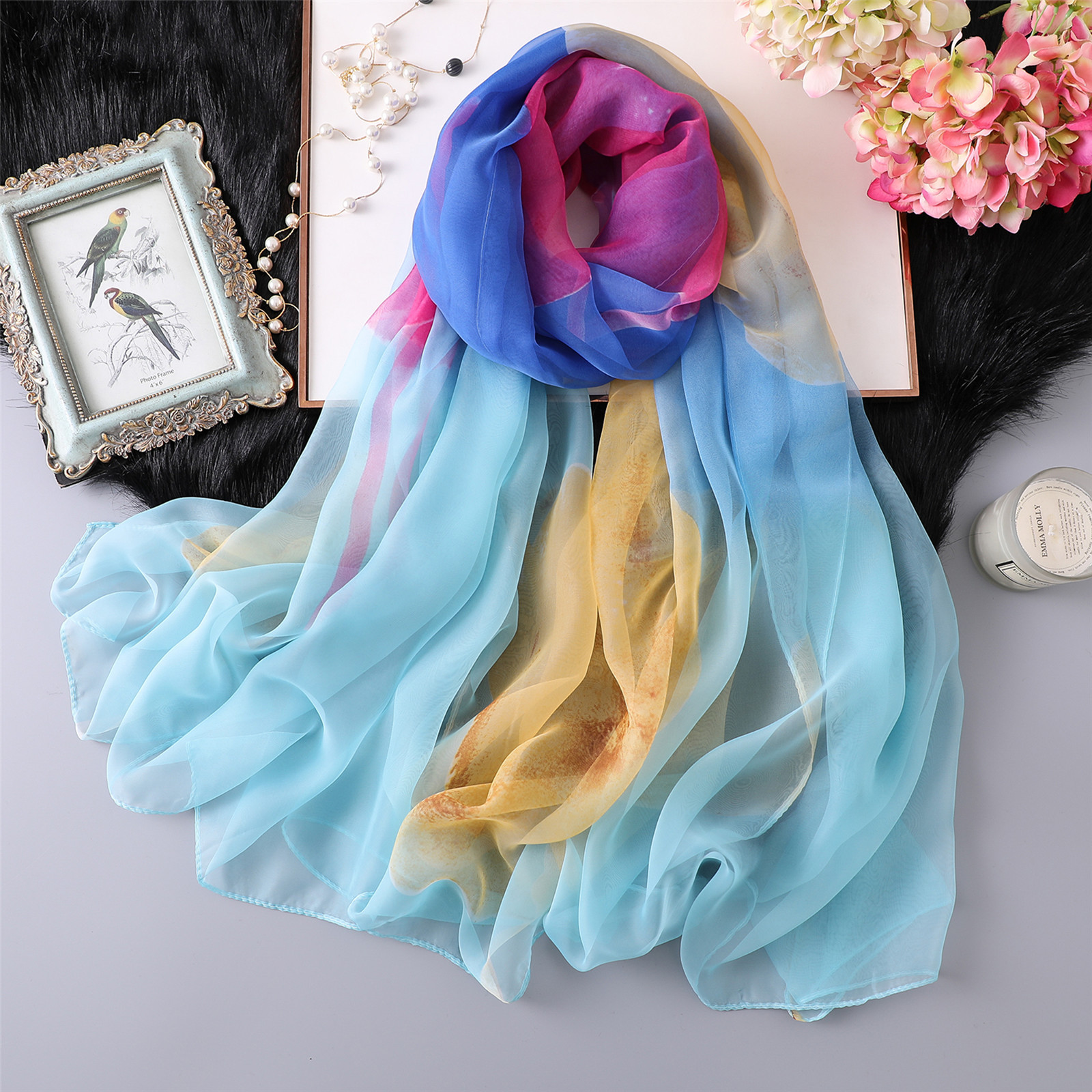 2019 Fashion Silk   Scarf   Women luxury brand thin print foulard femme Silky   Scarves     Wraps   Lady's shawl high quality chiffon hijab
