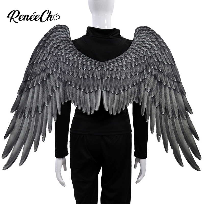 Cheap White Angel Wings For Women Mardi Gras Carnival Black Wings For Men Adult Halloween Costume Prop Party Costume
