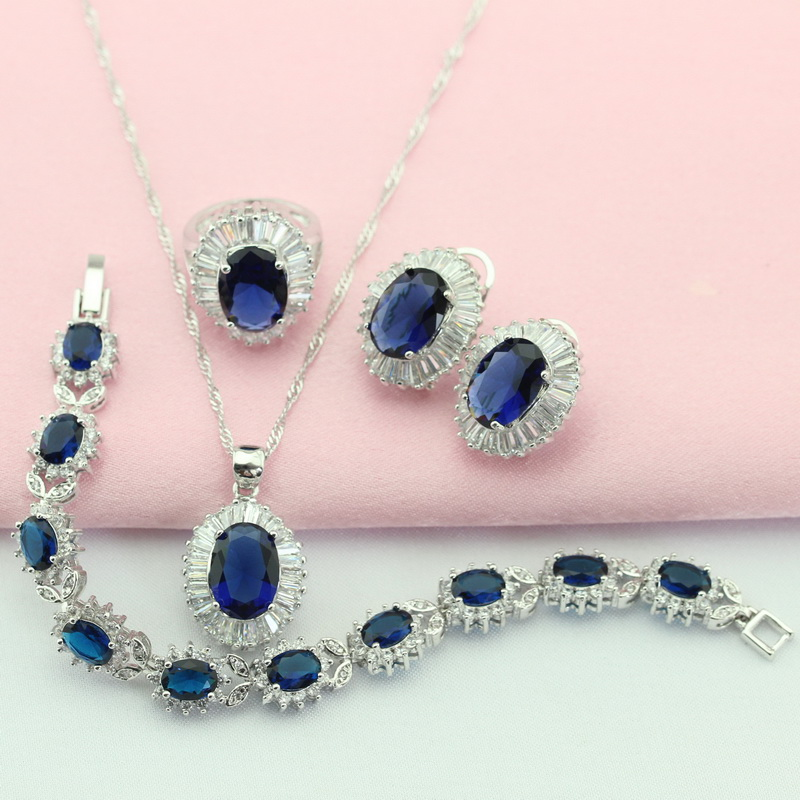 Bridal Jewelry Sets Wpaitkys Dark Blue Cubic Zirconia Silver Color Wedding Jewelry Sets For Women Stud Earrings Bracelet Pendant Ring Free Gift Box