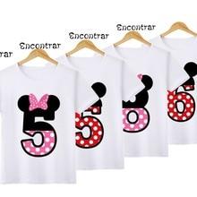 Short-Sleeve Tops T-Shirt Birthday-Number Bow-Design Kids Children's Boys/girls Cute