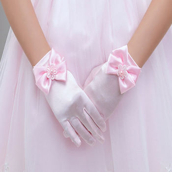 2019 Hot  1Pair Charming Flower Girls Party Bowknot Gloves Mittens Ceremony Communion Accessories Kids Children's Gloves