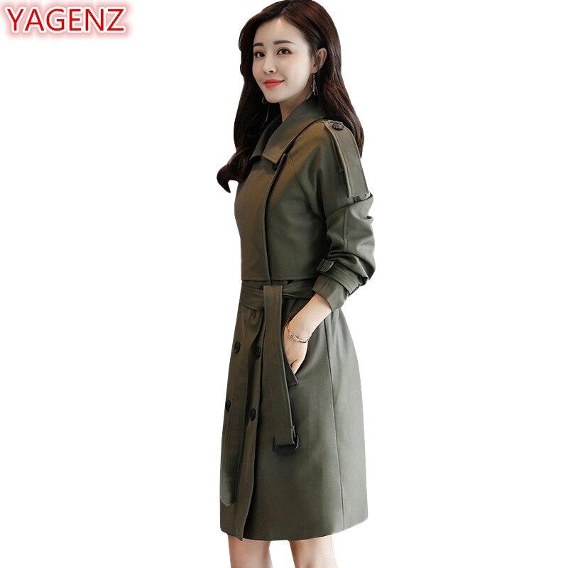 YAGENZ Spring Autumn Coats Womens Windbreaker Coats Fashion Long   Trench   Coat Casual Female Double breasted Windbreaker Coat 637