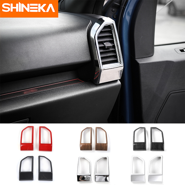 SHINEKA Car Dashboard Air Conditioning AC Vent Trims Outlet Decorative Covers for Ford F150 2015 2016 2017 Car Styling