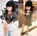 Retail Nuevo Llegan Los Niños se Visten Niña Vestidos Clásicos para niños Vestido de Algodón Estampado de Leopardo de Manga Larga Trajes para 2 T-6 T