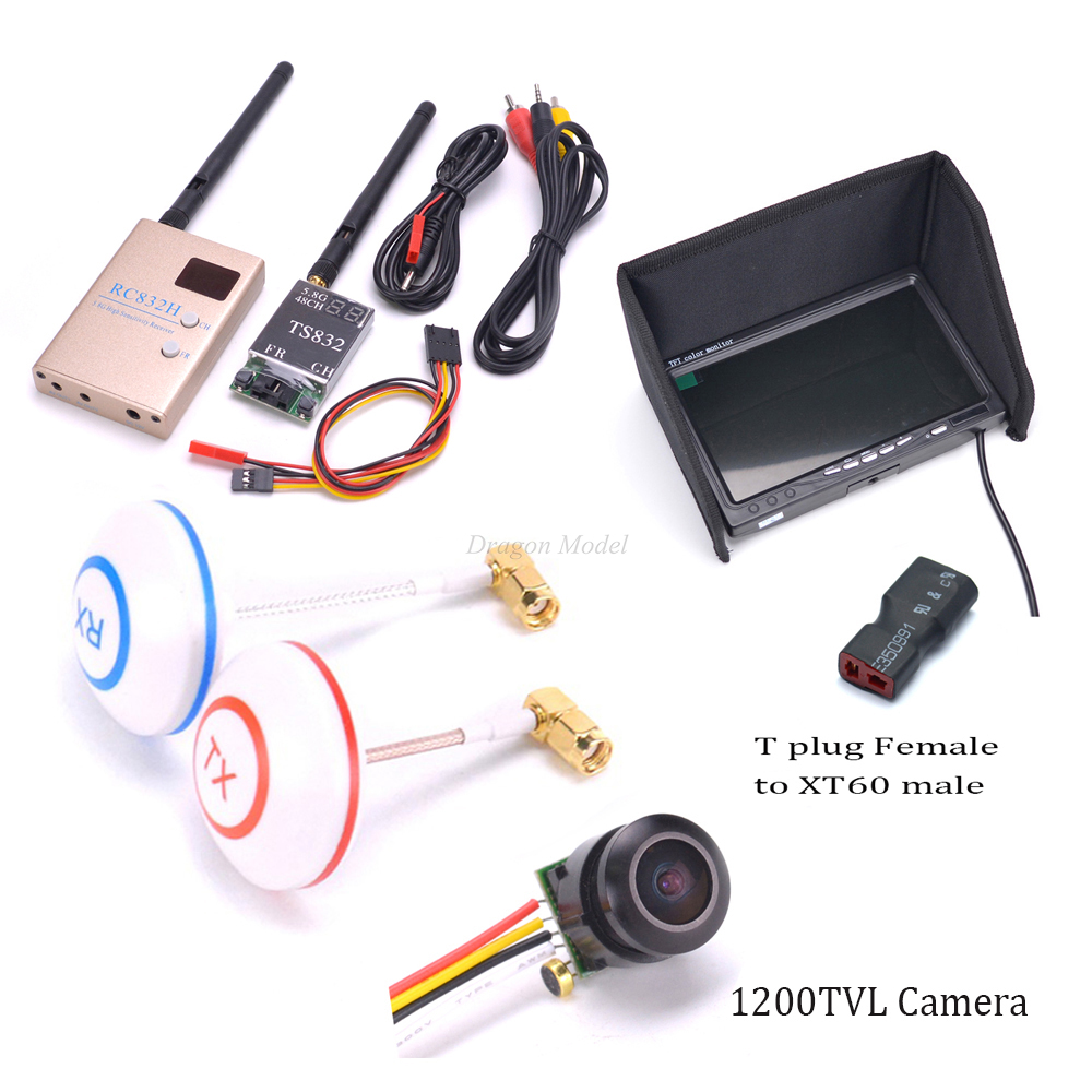 1000TVL / 1200TVL Camera 5.8Ghz 600mw 48CH TS832 transmitter RC832 RC832H Receiver 7inch Monitor Antenna w/ L shape For Drone boscam fpv wireless av audio video system 5 8ghz 5 8g 600mw 48ch ts832 transmitter tx rc832 plus receiver monitor camera combo