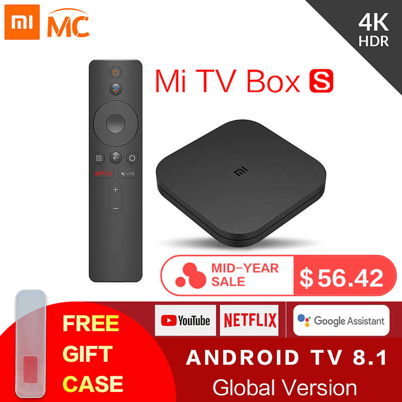 Оригинальный Глобальный Xiaomi Mi tv Box S 4 K HDR Android tv 8,1 Ultra HD 2G 8G wifi Google Cast Netflix IP tv Set top Box 4 медиаплеер