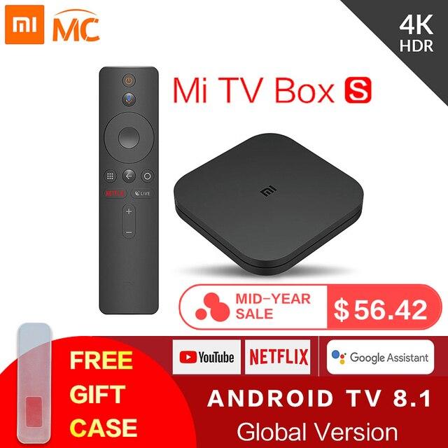 Ban đầu Toàn Cầu Tiểu Mi Mi TV Box S 4 K HDR Android TV 8.1 Ultra HD 2G 8G WIFI Google Cast Netflix IPTV Set Top Box 4 Phương Tiện Truyền Thông Người Chơi