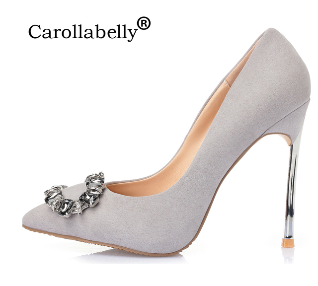 4d95aac1d39a68 2018 New Rhinestone High Heels Women Pumps Suede leather Stiletto Metal Heel  Sexy Women Party Wedding Shoes Small Big Size 33-43