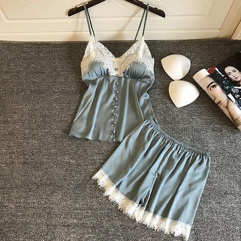 QWEEK Pyjamas Women Summer New Shorts Sexy Nightwear Two-piece Women Satin   Pajamas     Set   Suit Artificial Silk Home Lace Chest Pad