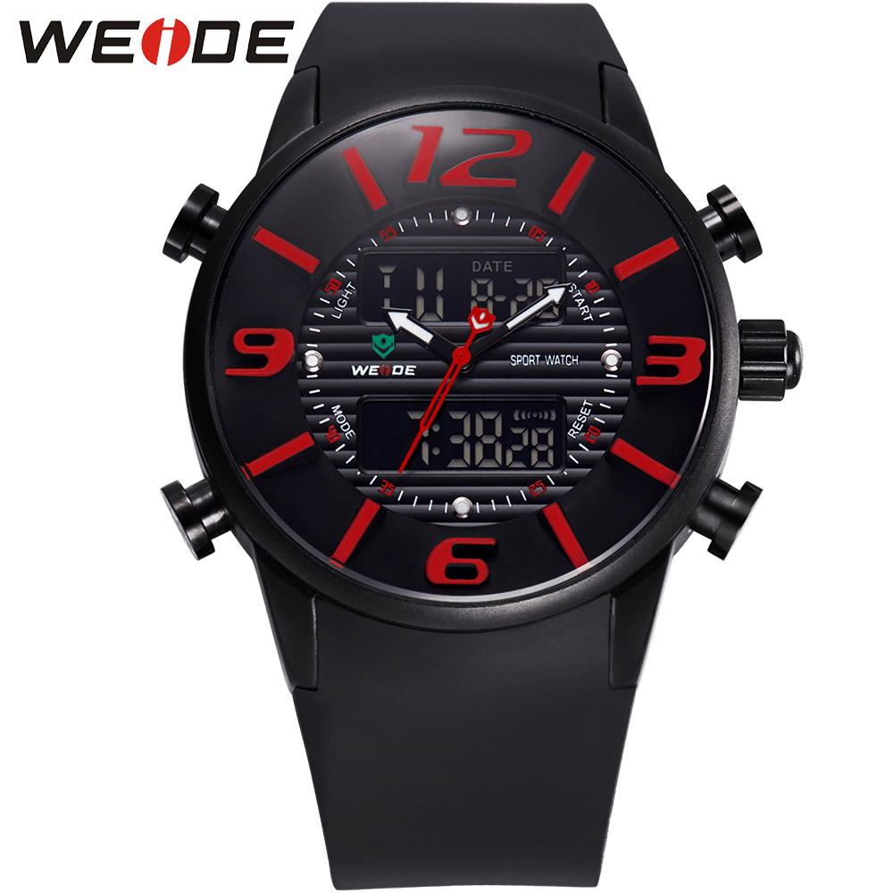 ФОТО WEIDE Luxury Mens Analog Digital Watches Stainless Steel Back Water Resistant Quartz PU Band Wrist Watches Gifts For Men