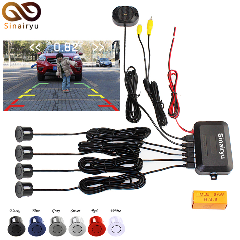 Sinairyu Draht Video Parken-sensor Umge Backup Radar Unterstützung, Auto parkplatz Monitor Digital Display und Schritt-up Alarm