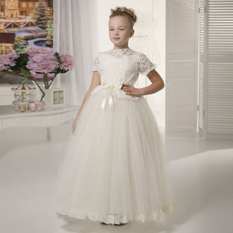 Little Girls Wedding Gowns: Long Flower Girls Dresses For Wedding Gowns Lace Glitz