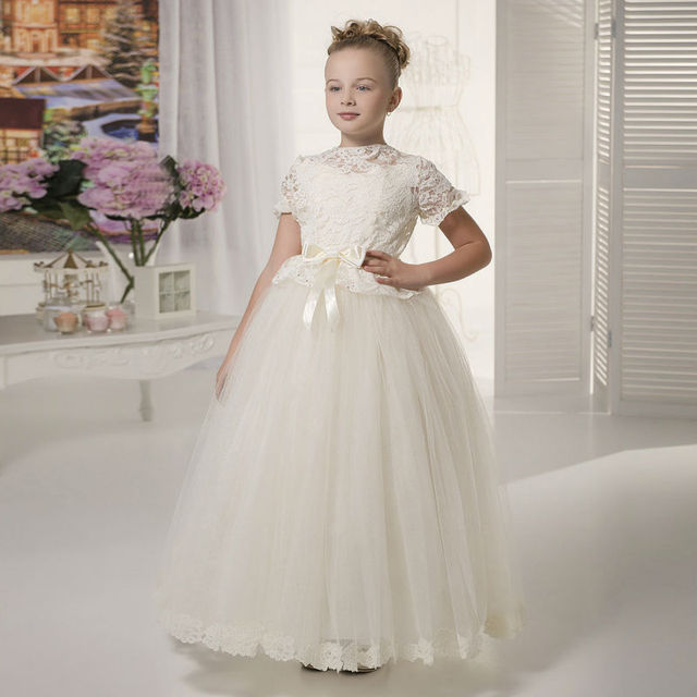 Long Flower Girls Dresses For Wedding Gowns Lace Glitz Pageant ...