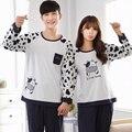 Más Tamaño Pijamas para Pareja de manga Larga ropa de Dormir de Algodón Conjuntos De Vaca de Impresión-5087