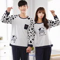 Plus Size Pajamas for Couple Long-sleeved Cotton Sleepwear Sets Cow Printing -5087