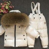 Детский зимний комбинезон для русской зимы, роскошный, натуральный мех, непромокаемый, толстый, теплый, детский лыжный костюм для мальчиков