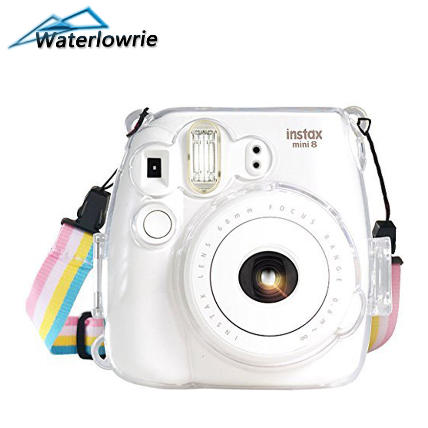 Waterlowrie Camera Bag Transparent Plastic Cover Camera Protect Case For Fujifilm Instax Mini 9 8 8+ Camera Bag + Camera Strap stylish protective plastic full case for fuji instax mini 8 transparent