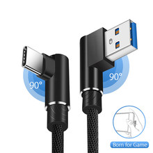 90 Degree USB Type C Cable Fast Charging for Samsung Galaxy Note S10 S9 L Shape Gaming Data Cable for Xiaomi Mi 8 Mix 3 A2 Lite(China)