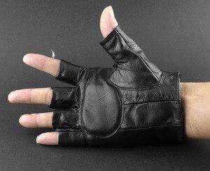 Image 3 - Gants sans doigts pour motocycliste, en cuir pour hommes, Punk, à pic