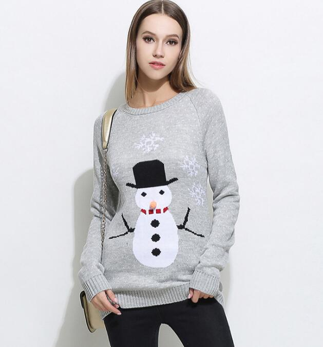 European Women Winter Christmas Sweater Cartoon Snowman Snowflake Knitting Pattern Jumper Loose Long Jacquard Pullover Sweaters