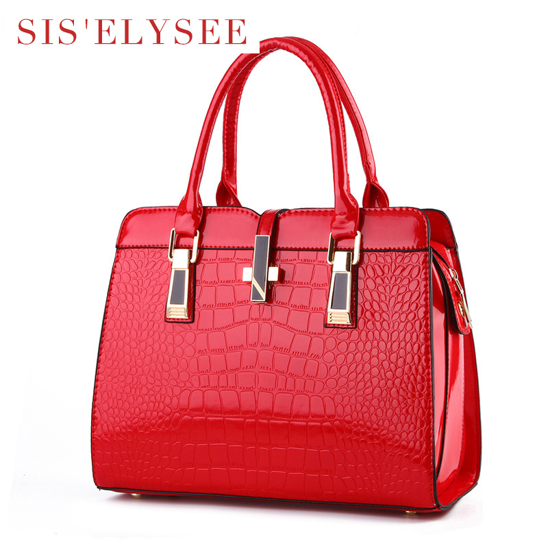 Women Famous Brands Designer Handbags Fashion Medium Size Tote Bag  Alligator High Quality Purse Female Pu leather Bags-in Top-Handle Bags from  Luggage ... 112c604bc6e27