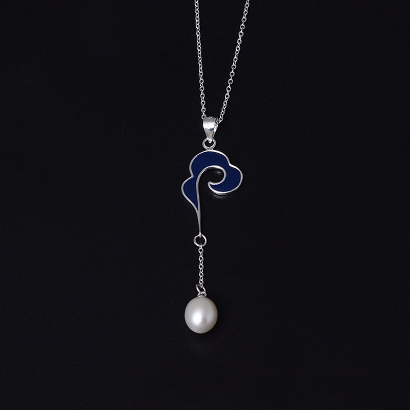 Cloud Real 925 Sterling Silver Necklace Pendant with Pearl Natural Handmade Designer Pendant Fine Jewelry for Women