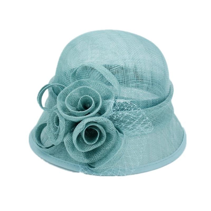 High Quality Philippines Sinamay Women Hat Vintage Solid Flower Sun Hat Elegant Ladies Summer Fedora Bucket Cap стоимость