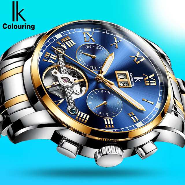 2017 Top Brand Luxury IK Skeleton Tourbillon Calendar Mechanical Watch Men Automatic Mechanical Wrist Watches Reloj Hombre 4629 new mechanical hollow watches men top brand luxury shenhua flywheel automatic skeleton watch men tourbillon wrist watch for men