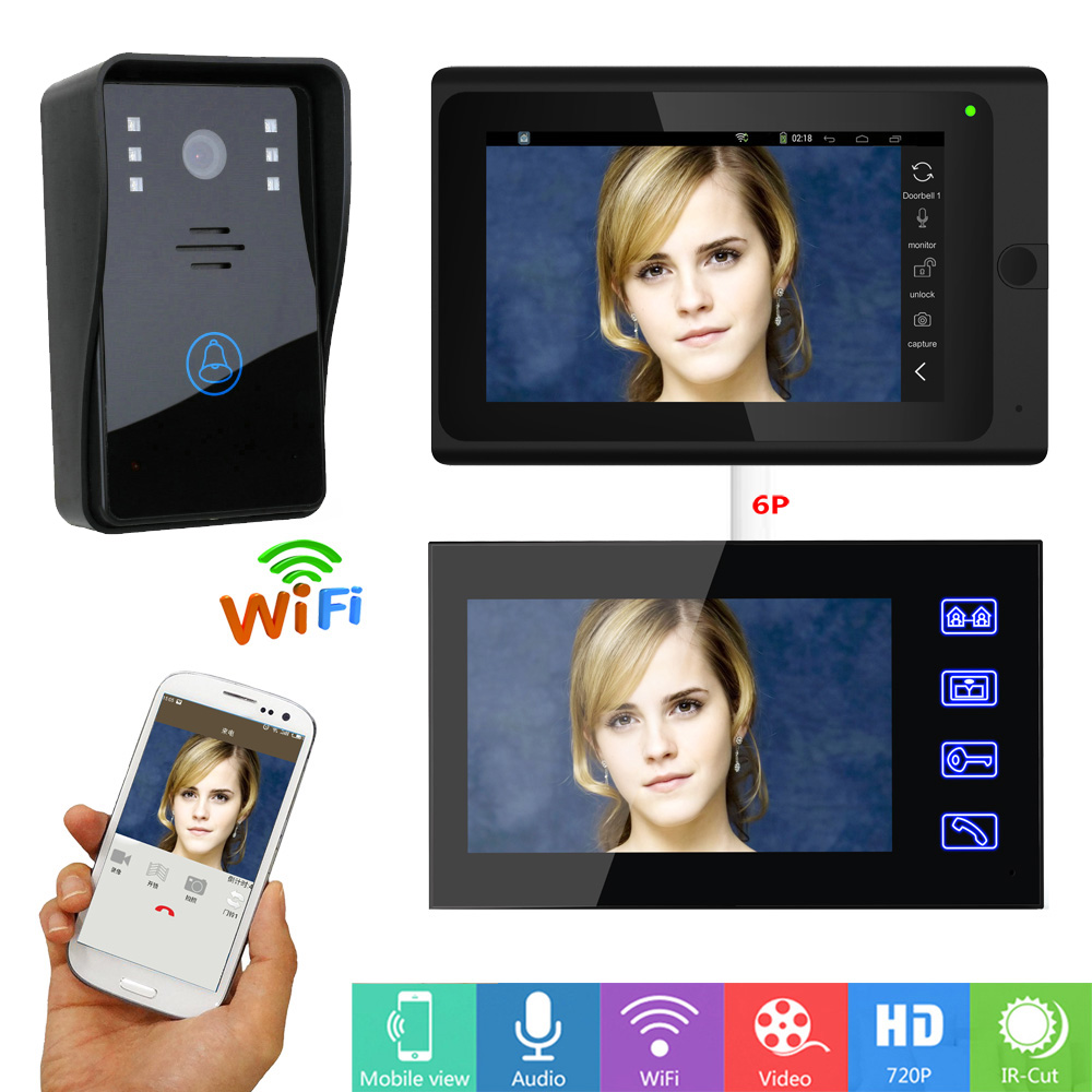 720P Camera Video Door Phone Doorbell Intercom System 7 inch 2 Monitor with APP Remote control Wired /Wireless Wifi Connect yobangsecurity wifi wireless video door phone doorbell camera system kit video door intercom with 7 inch monitor android ios app