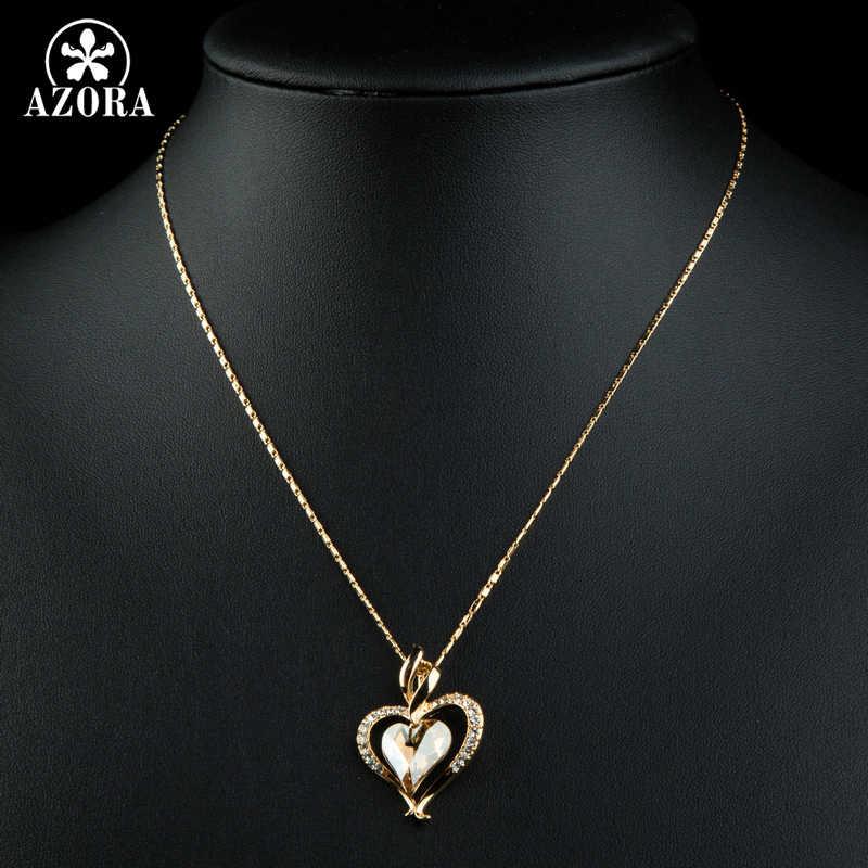 AZORA سلسلة طويلة القلب كريستال نمساوي الذهب اللون القلب قلادة قلادة لعيد الحب هدية من الحب TN0204