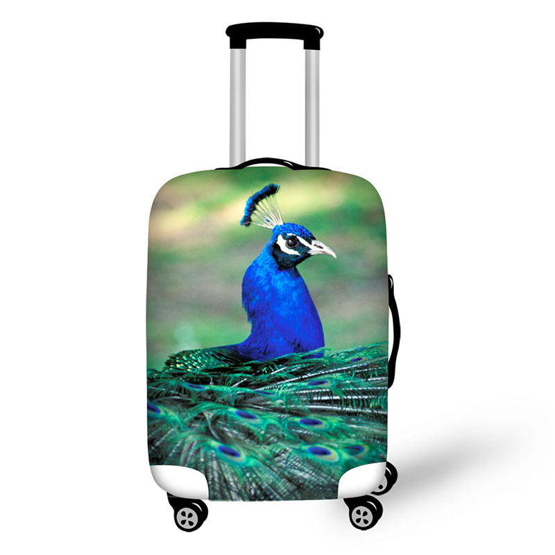 travel accessories suitcase protective covers 18-30 inch elastic luggage dust cover case stretchable Waterproof Animal peacock
