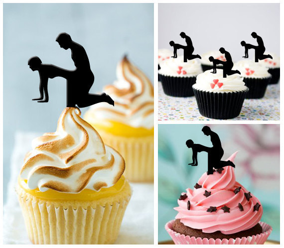 sex silhouette cupcake toppers food picks bridal shower bachelorette party wedding birthday toothpicks decor