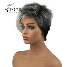 StrongBeauty Short Silver With Dark Roots Ombre Girls Wigs Synthetic Hair Wig