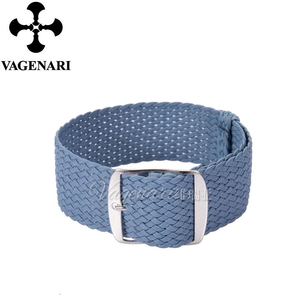Мода Голубой перлон ремешок 20 мм Плетеный ремешок для часов