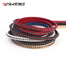 XCHARMS 6MM/leather cord rope/Crystal drill 2/accessories parts/jewelry findings/hand made/jewelry making/bracelet material