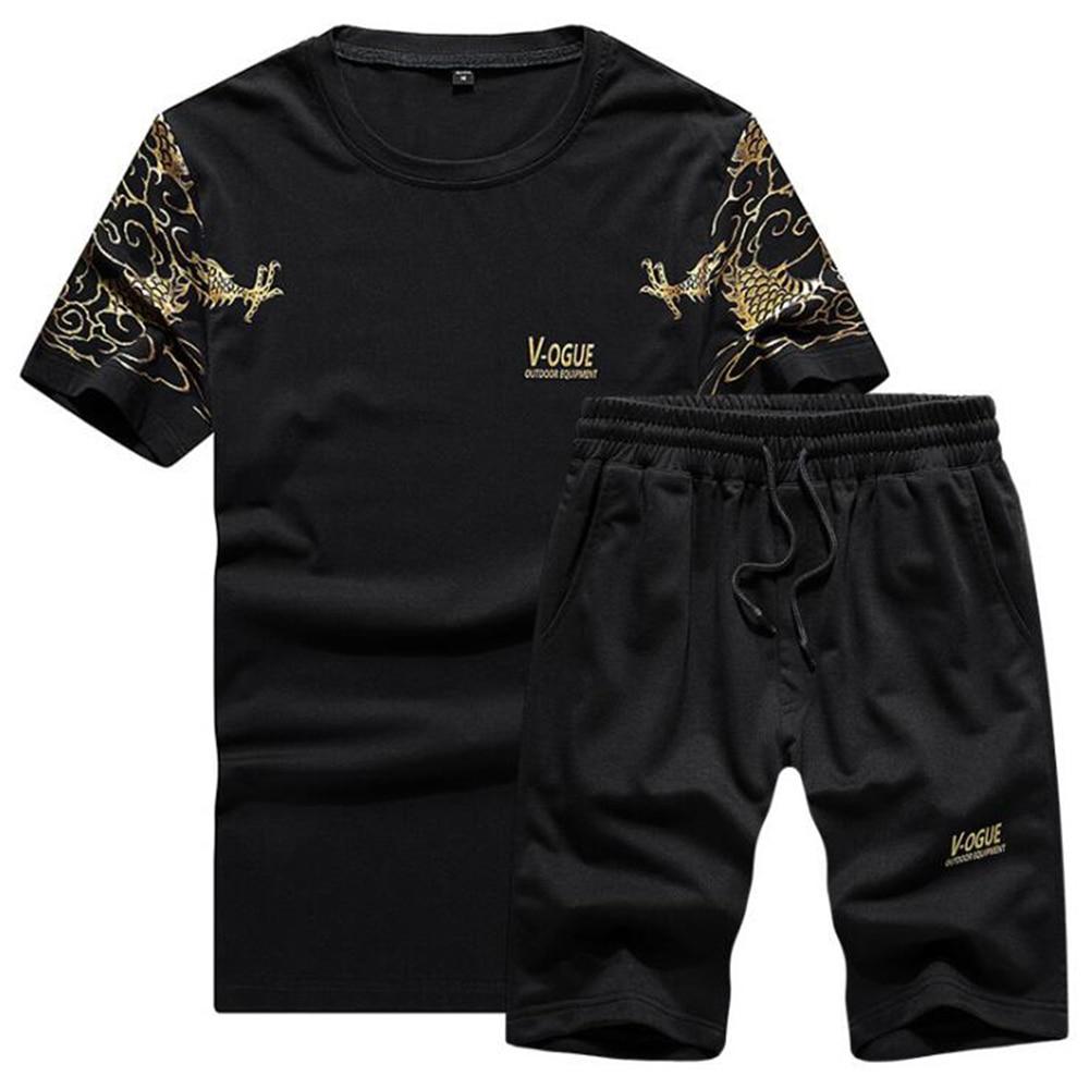 Fashion Streetwear Sportsuit and Tee Shirt Set Mens T Shirt Shorts + Short Pants Men Summer Tracksuit Men Casual vetement homme