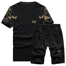 Fashion Streetwear Sportsuit and Tee Shirt Set Mens T Shorts + Short Pants Men Summer Tracksuit Casual vetement homme