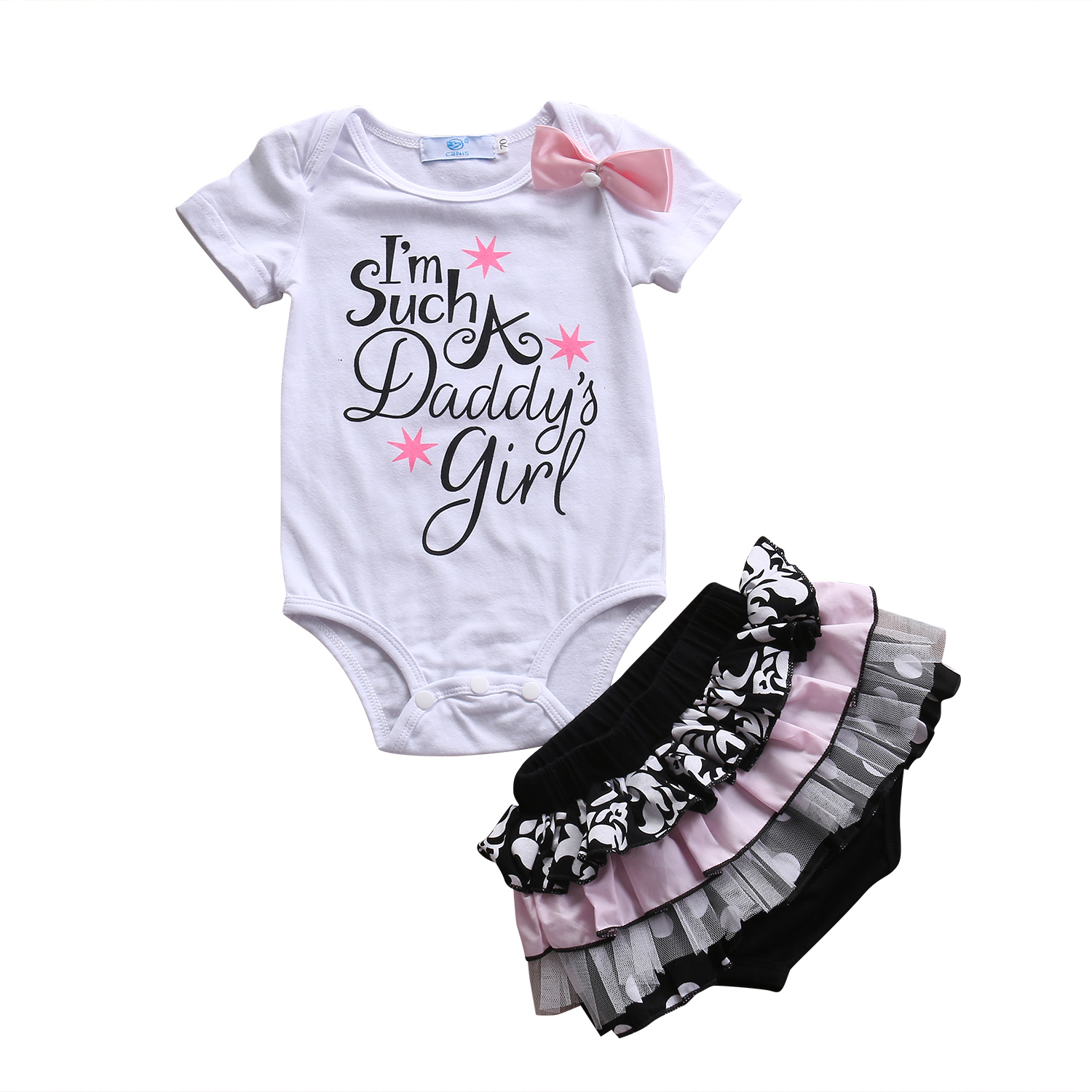 New Style Newborn Baby Girls Clothes Summer Cotton Short Sleeve Romper Lace Polka Dot Shorts Outfits Baby Clothing Set 0-3Y